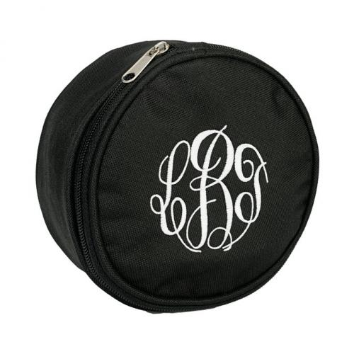 monogrammed round black jewelry case at the pink monogram On monogrammed jewelry travel bag