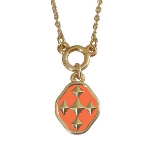orange and gold shield of faith colors necklace
